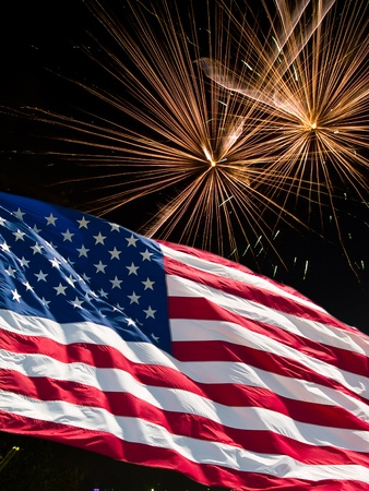 The American Flag and Fireworks from Independence Day Stock Photo - 8533661