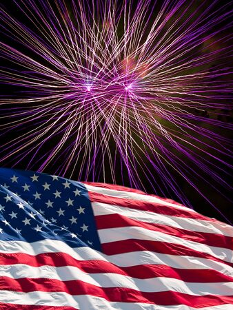 The American Flag and Purple Fireworks from Independence Day Stock Photo - 8533702