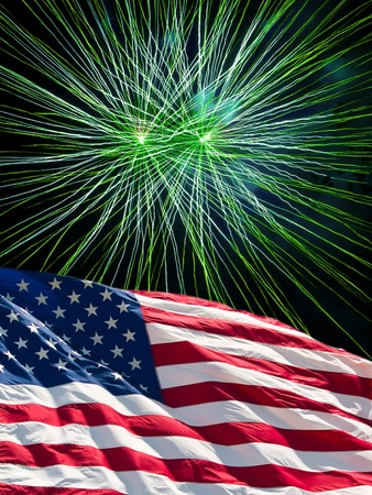 new years day: The American Flag and Green Fireworks from Independence Day Stock Photo