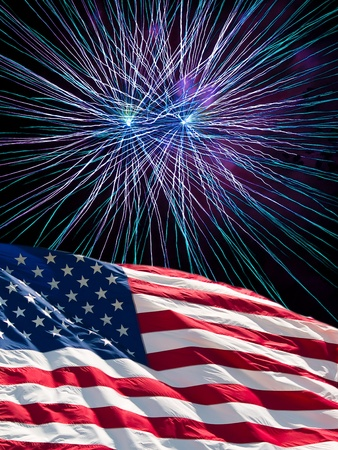 The American Flag and Blue Fireworks from Independence Day photo