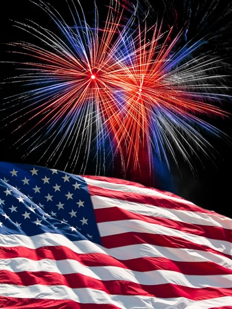 new years day: The American Flag and Red White and Blue Fireworks from Independence Day Stock Photo