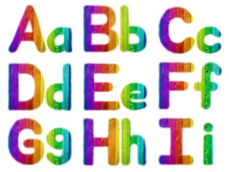 Letters A B C D E F G H I with a Wooden Rainbow Background photo