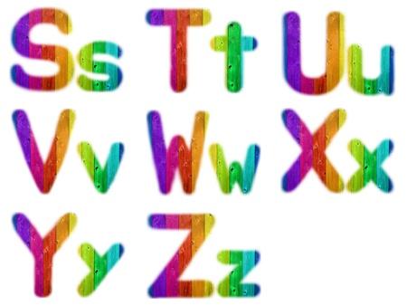 Letters S T U V W X Y Z with a Wooden Rainbow Background photo
