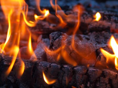 wood fire: Background of Flames and Glowing Embers in a Campfire Stock Photo
