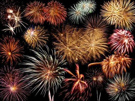 Collage van Fireworks tegen een zwarte lucht