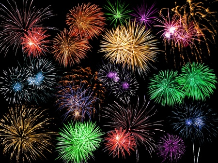 Collage of Multicolored Fireworks Against a Black Sky Stock Photo - 8617440