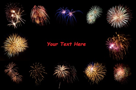 Bright Fireworks Framing a Black Space for Copy Text Stock Photo - 8617337