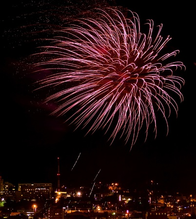 Fireworks Against the Night Sky of a Cityscape Stock Photo - 8617273