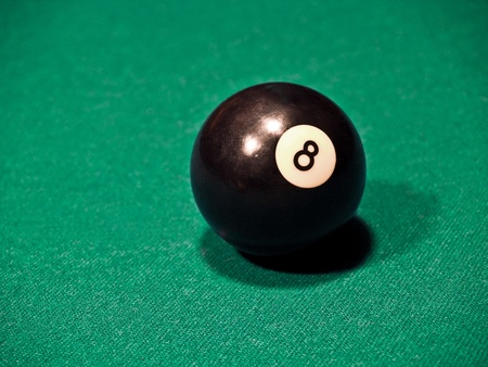 eight ball: An Eight Ball on a Green Billiards Table