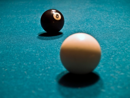 An Eight Ball and Cue Ball on a Green Billiards Table photo