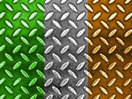 Irish Flag On a Diamond Metal Texture photo