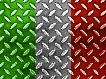shiny metal: Italian Flag On a Diamond Metal Texture