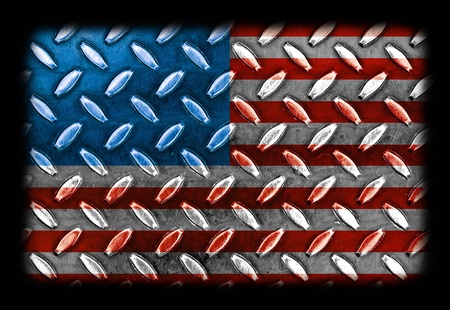 diamond plate: American Flag On a Diamond Metal Texture