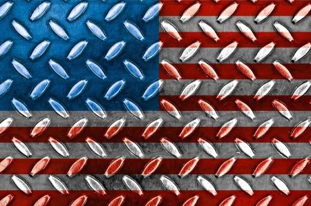 Amerikaanse vlag op een diamant metalen textuur