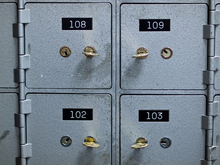 Old Gray and Numbered Safety Deposit Boxes photo