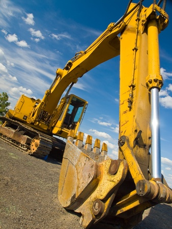 Heavy Duty Construction Equipment Parked at Worksite  Stock Photo - 9568363