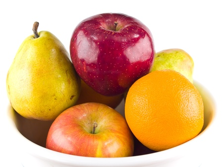 A Bowl of Fruit Apples Pears and Oranges photo