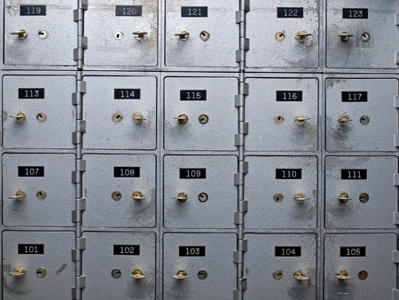 deposit slip: Old Gray and Numbered Safety Deposit Boxes
