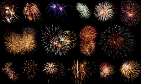 Long Exposure of Fireworks Against a Black Sky Stock Photo - 9815687