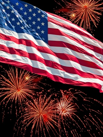 The American Flag and a Fireworks Display Stock Photo - 9815389