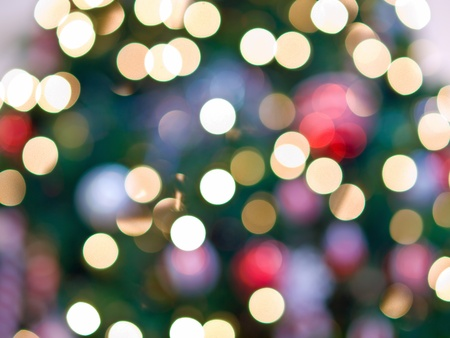 White Christmas Tree Lights Abstract for Backgrounds Stock Photo