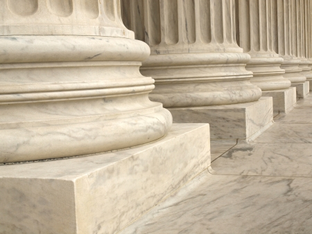 government: Columns at the United States Supreme Court in Washington DC