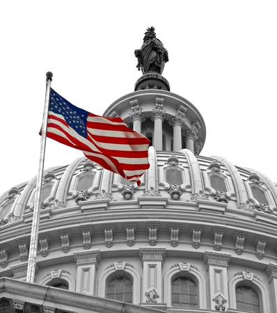 United States Capitol Building in Washington DC in Black & White and American Flag in Color Stock Photo - 10005809