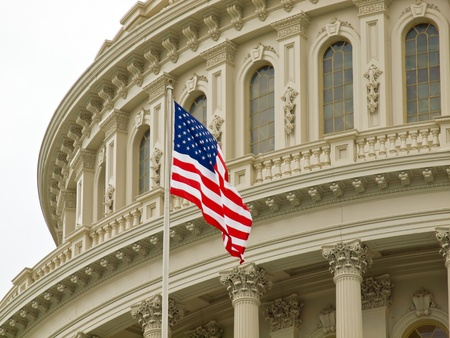government: United States Capitol Building in Washington DC with American Flag