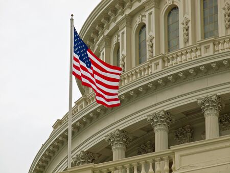 United States Capitol Building in Washington DC with American Flag Stock Photo - 10005811