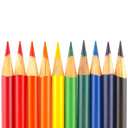 practice primary: Rainbow of Colored Pencils Isolated on White
