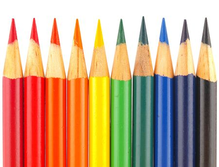 Rainbow of Colored Pencils Isolated on White photo