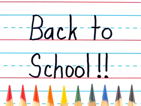 Back to School Written on a Lined Dry Erase Board with Colored Pencils Stock Photo - 10079568