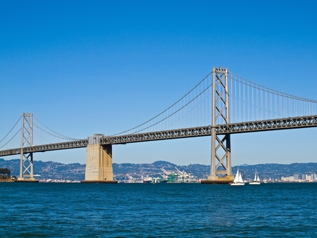 great bay: San Francisco Bay Bridge on a Clear Day with a Bright Blue Sky
