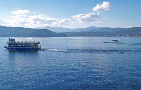 A Mountain Lake with a Cruise Ship and Water Plane - Coeur d'Alene Idaho USA Stock Photo - 10080935