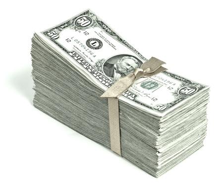 pile papier: Pile de monnaie des �tats-Unis attach� dans un ruban - Fifties