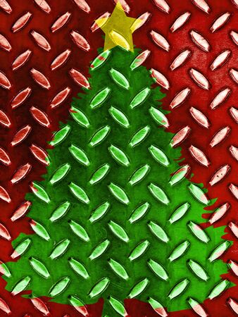Christmas Tree Pattern in Red Green and Gold Metal Texture