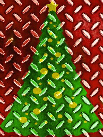 Christmas Tree Pattern in Red Green and Gold Metal Texture photo