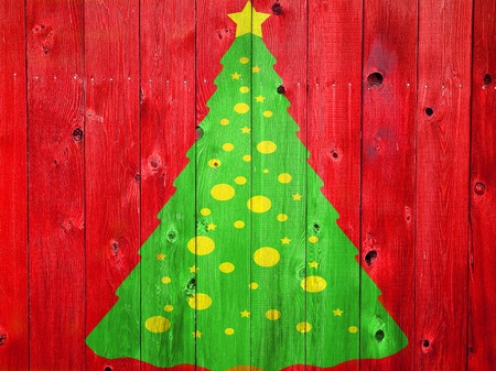 wood texture background: Christmas Tree on Colored Wooden Fence Boards Stock Photo