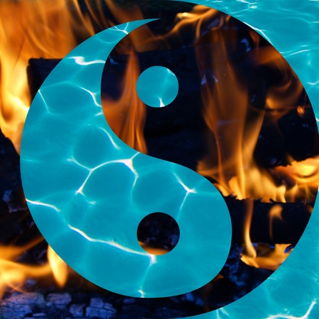Water and Flames in a Yin and Yang Symbol Stock Photo