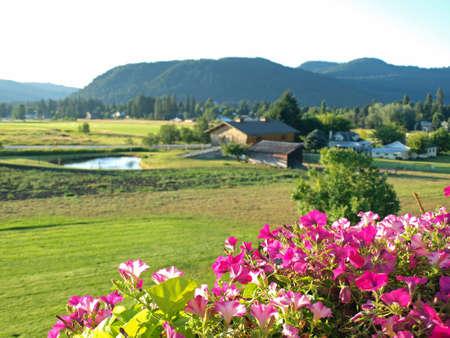 Une Vue Campagne Montagne depuis un balcon fleuri Banque d'images - 10754455