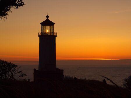 North Head Lighthouse on the Washington Coast at Sunset photo