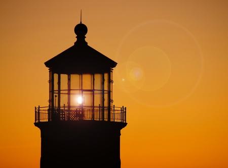 North Head Lighthouse on the Washington Coast at Sunset Stock Photo