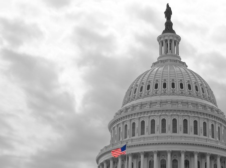 United States Capitol Building in Washington DC in Black & White and American Flag in Color 新聞圖片