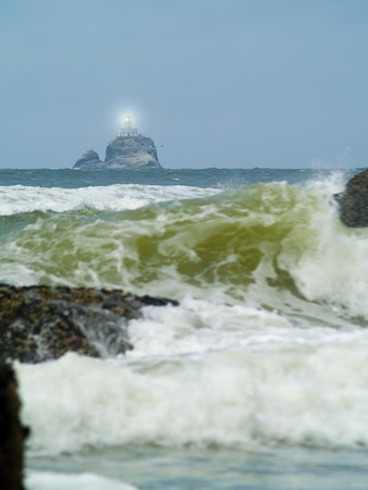 terrible: Terrible Tilly Lighthouse on Oregon Coast with Light Shining