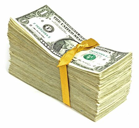 Stack of Older United States Currency Tied in a Ribbon - Ones