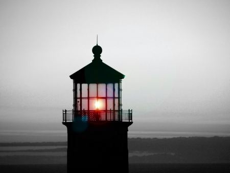 Lighthouse on the at Sunset Black n White with Color Flare Stock Photo - 15013231