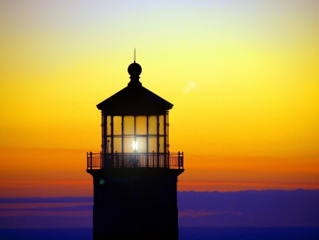North Head Lighthouse on the Washington Coast at Sunset photo