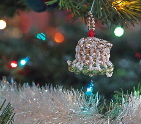 Christmas Ornaments on a Green Tree