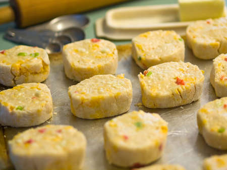 Raw Biscuits on a Baking Pan Ready to Bake