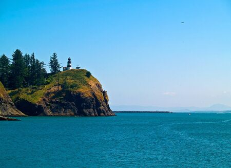 guard house: The Lighthouse at Cape Disappointment at Fort Canby State Park in Washington State USA